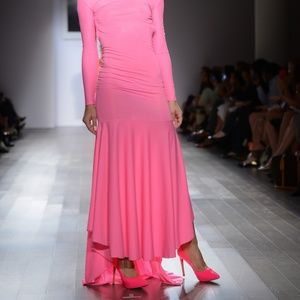 Goddess Pink Lace Long Sleeve Mermaid Dress